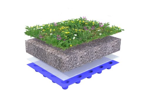 Build-up green roof with Sedum-herb - Wildflowers 0-15 degrees
